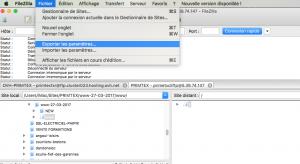 fenêtre exportation filezilla