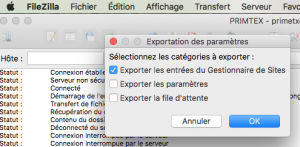 fenêtre exportation filezilla pour récupérer mon mot de passe ftp